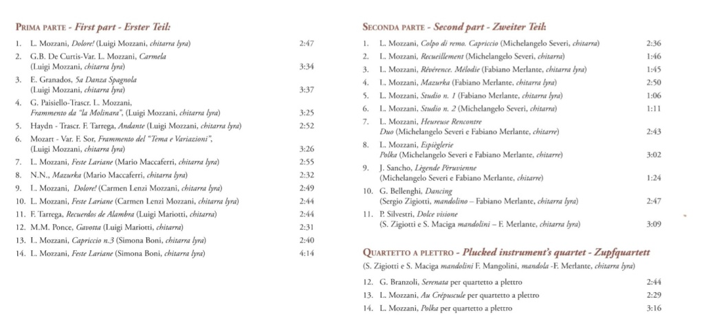 CD mozzani tracks list