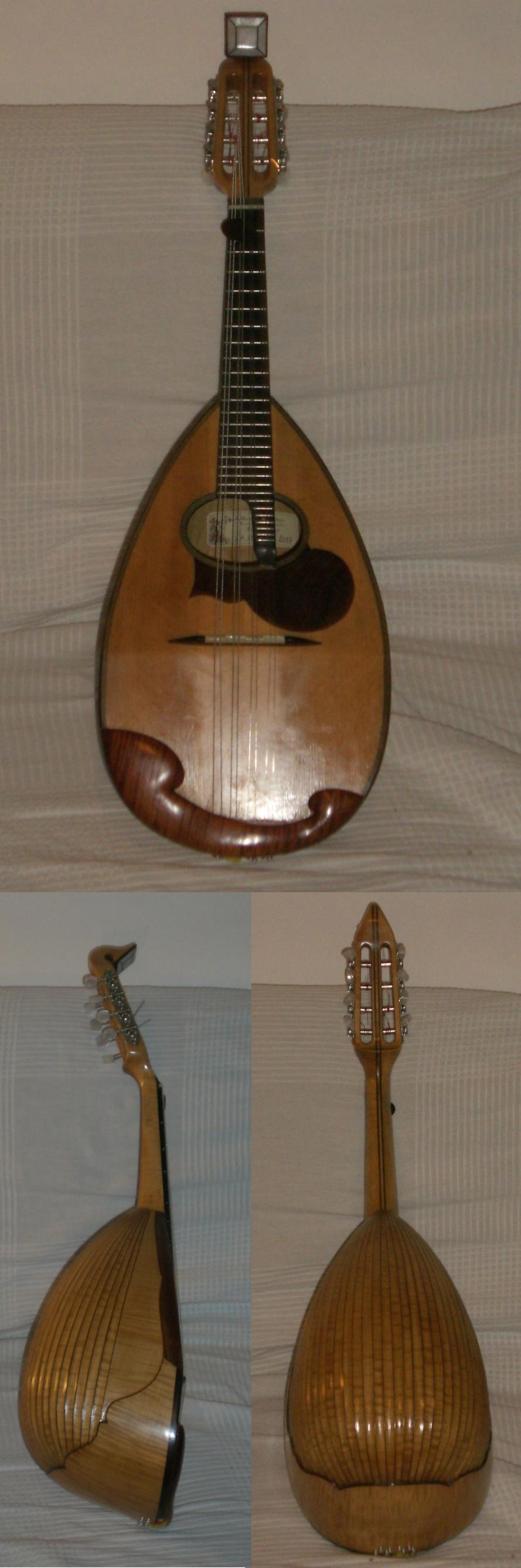 Mandolino napoletano Gabriele Pandini (Ferrara, 2007), tavola in abete, doghe in acero scannellato.